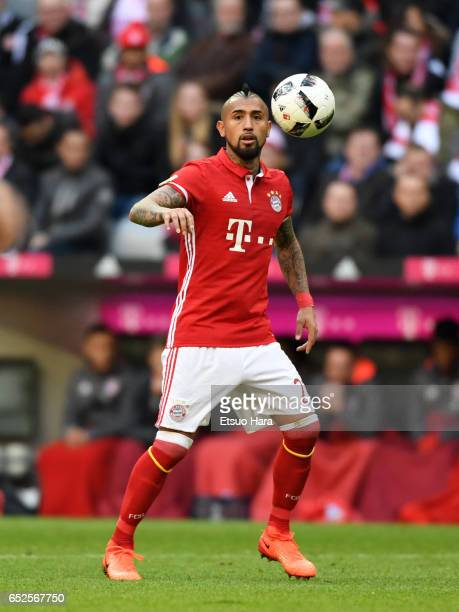 Arturo Vidal of Muenchen in action during the Bundesliga match between Bayern Muenchen and Eintracht Frankfurt at Allianz Arena on March 11 2017 in...