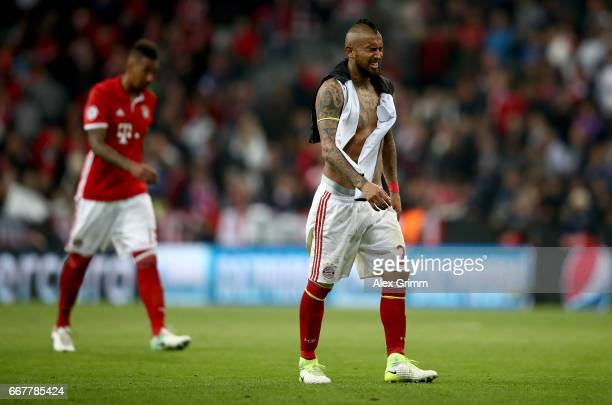 Arturo Vidal of Muenchen looks dejected after the UEFA Champions League Quarter Final first leg match between FC Bayern Muenchen and Real Madrid CF...