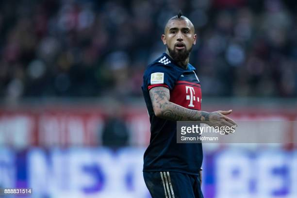 Arturo Vidal of Muenchen reacts during the Bundesliga match between Eintracht Frankfurt and FC Bayern Muenchen at CommerzbankArena on December 9 2017...
