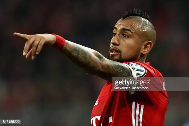 Arturo Vidal of Muenchen reacts during the DFB Cup quarter final between Bayern Muenchen and FC Schalke 04 at Allianz Arena on March 1 2017 in Munich...
