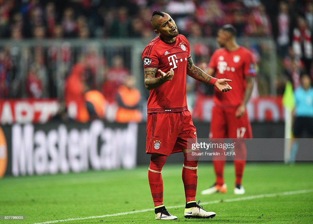 Arturo Vidal of Muenchen reacts during the UEFA Champions League Semi Final second leg match between FC Bayern Muenchen and Club Atletico de Madrid at the Allianz Arena on May 03, 2016 in Munich, Bavaria.