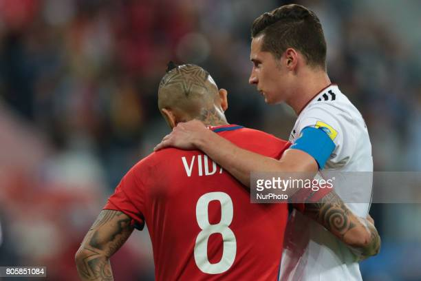 Arturo Vidal of the Chile national football team and Julian Draxler of the Germanyl national football team during the 2017 FIFA Confederations Cup...