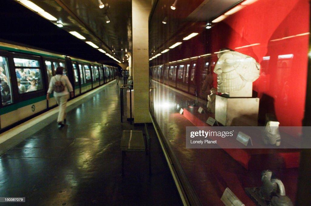 Artwork at Louvre Rivoli metro station. : Stock Photo