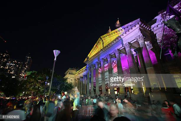 Artwork by Amanda Morgan is projected onto the facade of the State Library as part of White Night Melbourne on February 20 2016 in Melbourne Australia