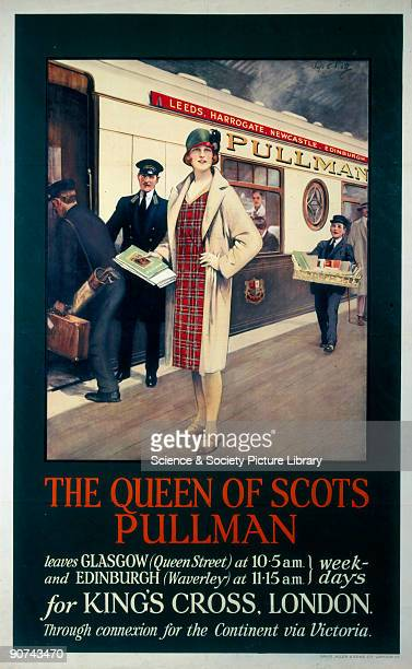 Artwork by Septimus E Scott Poster produced for the Pullman Company featuring a woman in a tartan dress and beige overcoat on a platform Printed by...