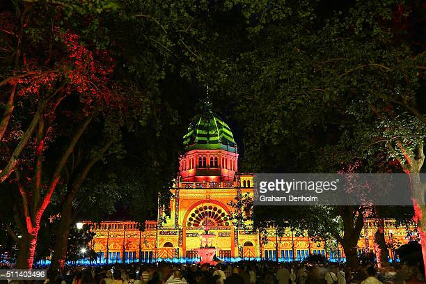 Artwork by The Pitcha Makin Fellas and OCUBO is projected onto the facade of the Royal Exhibition Building as part of White Night Melbourne on...