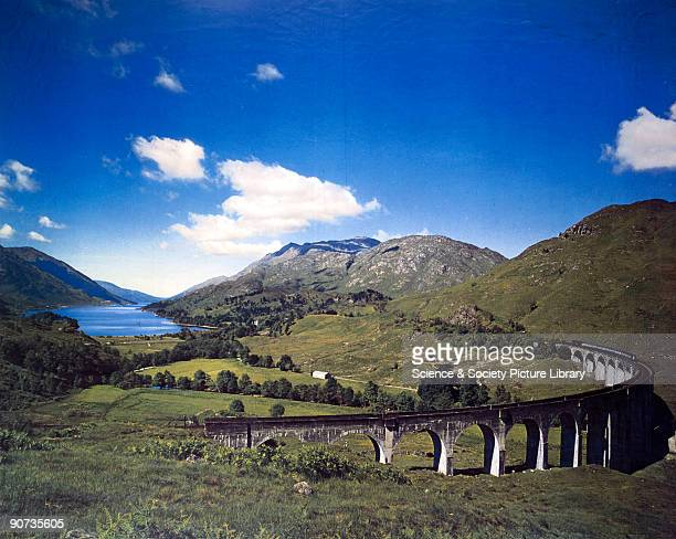 Artwork for a British Railways poster showing a view of the Glenfinnan Viaduct in the Scottish Highlands Artwork by an unknown artist