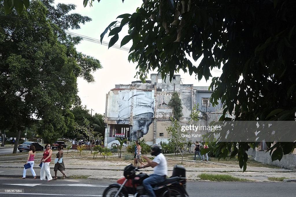 Artwork from 'Bienal de la Habana' remains outside of a private cafe on November 12, 2012 in Havana, Cuba. New business regulations in the communist country have allowed thousands of citizens to make money for themselves for the first time since 1959.