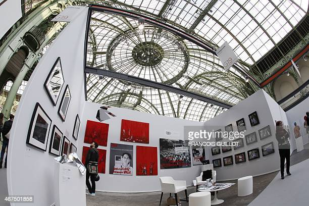 Artwork is displayed at the Art Paris Art Fair at the Grand Palais on March 25 2015 From 26th to 29th March 2015 the Art Paris Art Fair a leading...