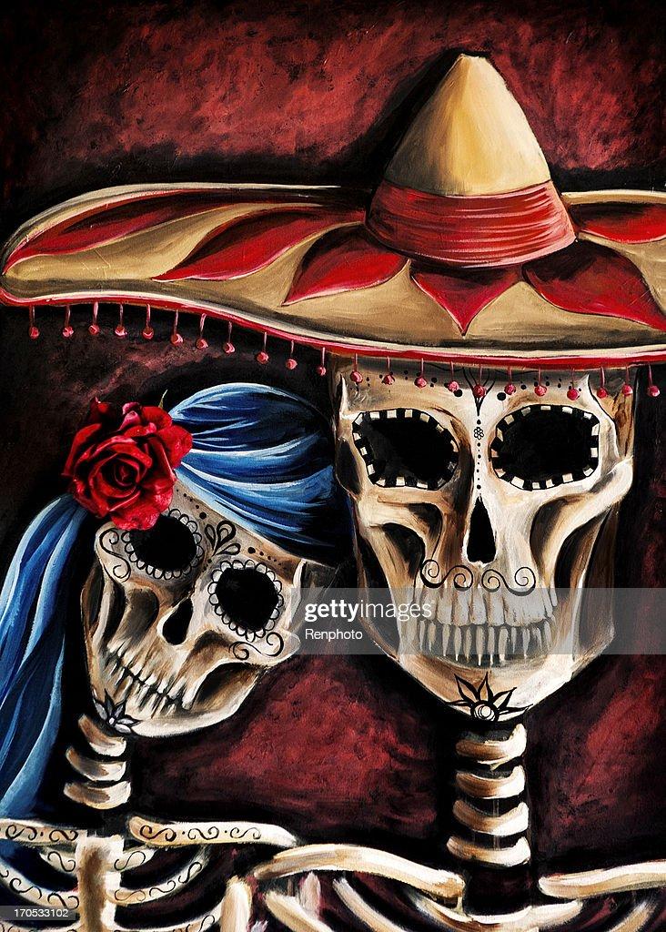 Artwork: Mexican Sugar Skull Painting : Stock Photo
