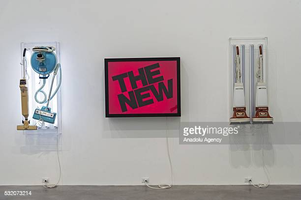 Artwork titled New Hoover Quik Broom New Hoover Celebrity IV The New and New Hoover Deluxe Shampoo Polishers by artist Jeff Koons on display as part...