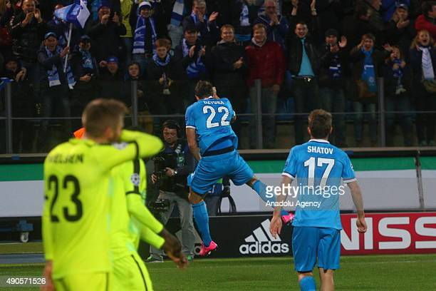 Artyom Dzuba of Zenit celebrates his goal during the UEFA Champions League Group H football match between Zenit StPetersburg and KAA Gent at...