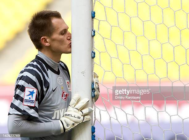 Artyom Rebrov of FC Spartak Moscow kisses a goal post before the Russian Football League Championship match between FC Spartak Moscow and FC Rubin...