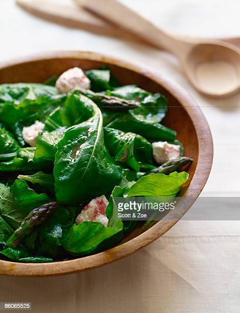 Arugula salad with asparagus and feta cheese