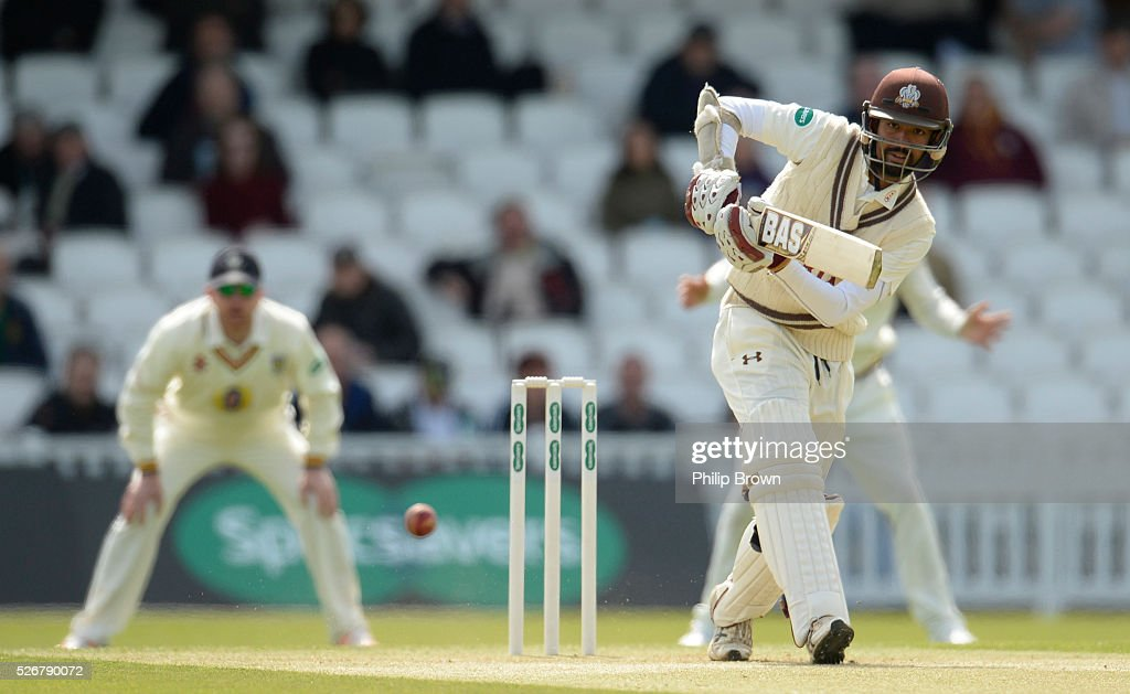 Arun Harinath of Surrey bats during day one of the Specsavers County Championship Division One match between Surrey and Durham at the Kia Oval on May 1, 2016 in London, England.
