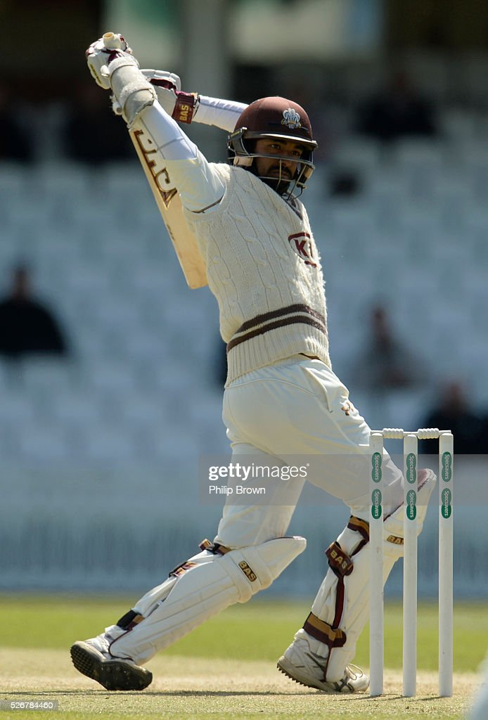 Arun Harinath of Surrey leaves a ball during day one of the Specsavers County Championship Division One match between Surrey and Durham at the Kia Oval on May 1, 2016 in London, England.