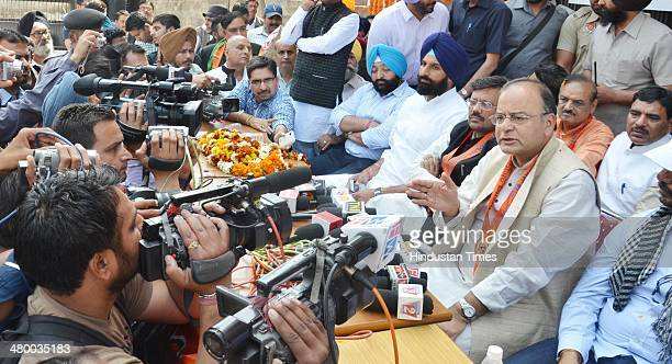 Arun Jaitley BJP Lok Sabha candidate from Amritsar adressing the media persons during the inauguration of BJP Election office at Khanna Samarak on...