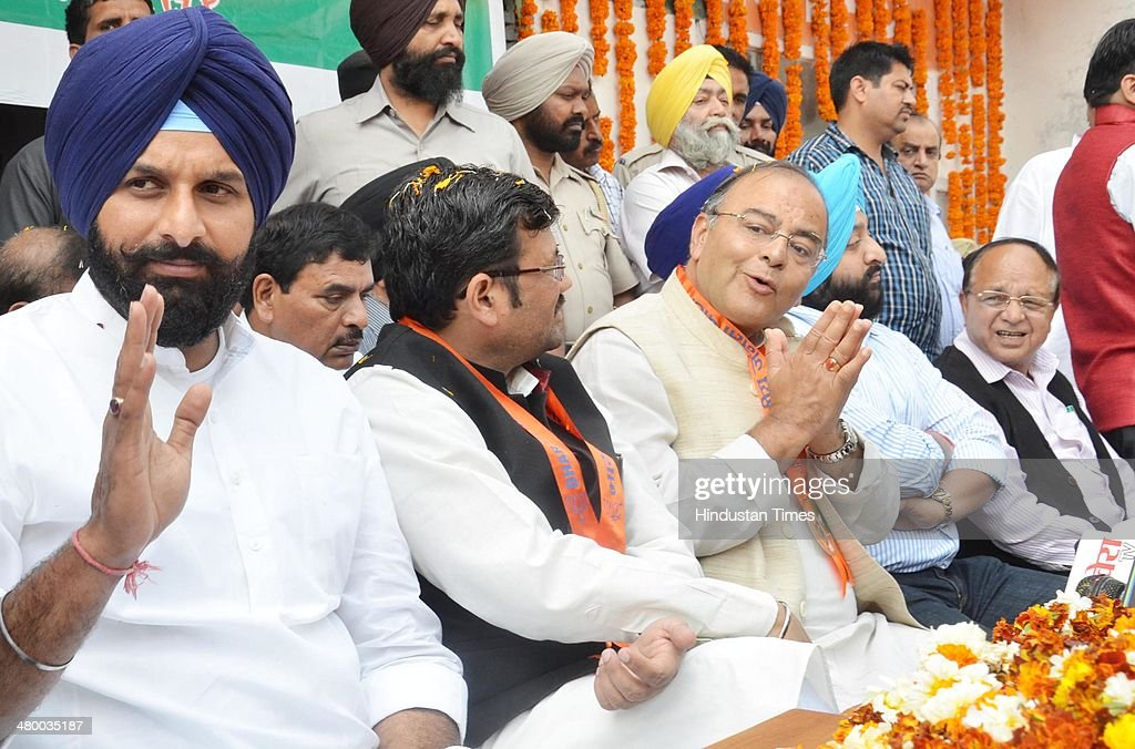 Arun Jaitley BJP Lok Sabha candidate from Amritsar during the inauguration of BJP Election office at Khanna Samarak on March 22 2014 in Amritsar...