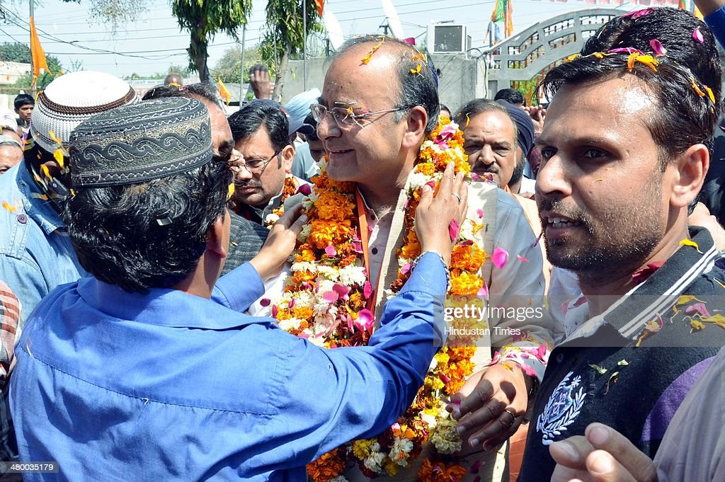 Arun Jaitley BJP Lok Sabha candidate from Amritsar welcomed by muslim supporters during the inauguration of BJP Election office at Khanna Samarak on...