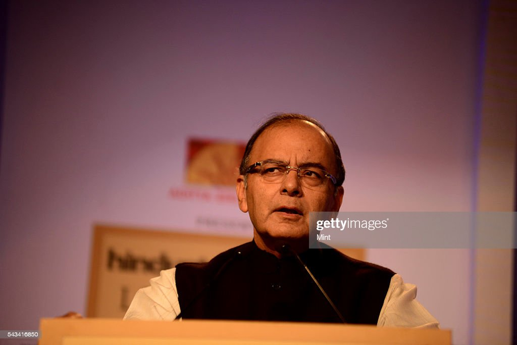Arun Jaitley Finance Minister of India speakingat HT leadership Summit on November 21, 2014 in New Delhi, India.