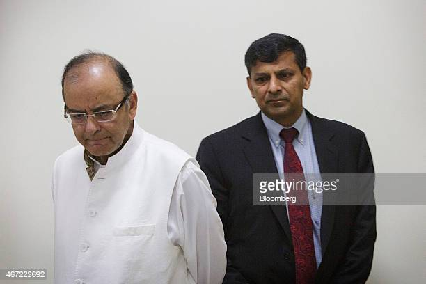 Arun Jaitley India's finance minister and Raghuram Rajan governor of the Reserve Bank of India arrive for a news conference at central bank's...