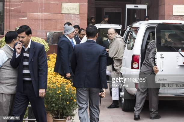 Arun Jaitley India's finance minister center arrives at the North Block of the Central Secretariat building before leaving to table the budget in...