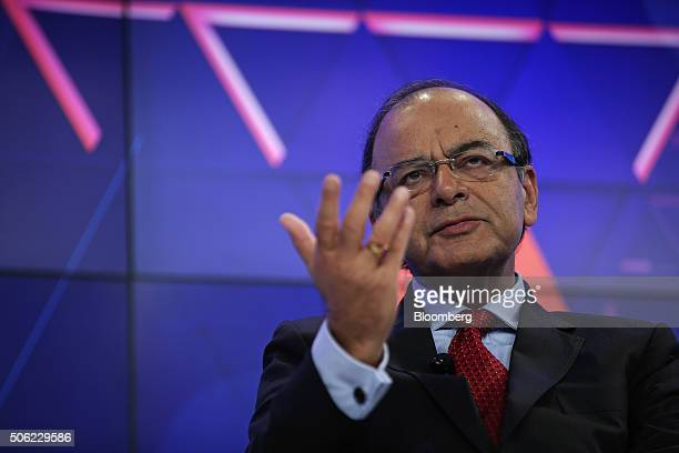 Arun Jaitley India's finance minister gestures as he speaks during a panel session at the World Economic Forum in Davos Switzerland on Friday Jan 22...