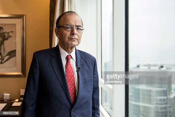 Arun Jaitley India's finance minister poses for a photograph prior to a Bloomberg Television interview in Hong Kong China on Monday Sept 21 2015...
