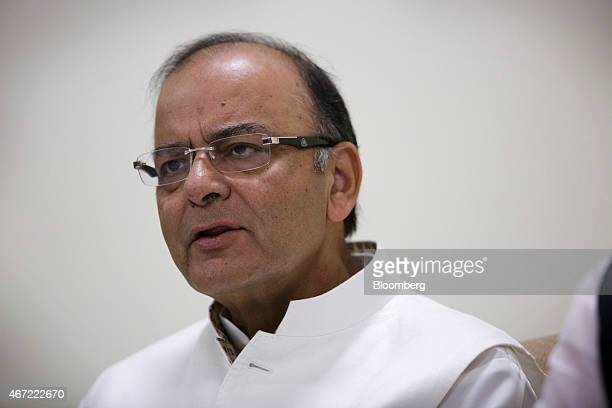 Arun Jaitley India's finance minister speaks during a news conference at the Reserve Bank Of India's headquarters in New Delhi India on Sunday March...
