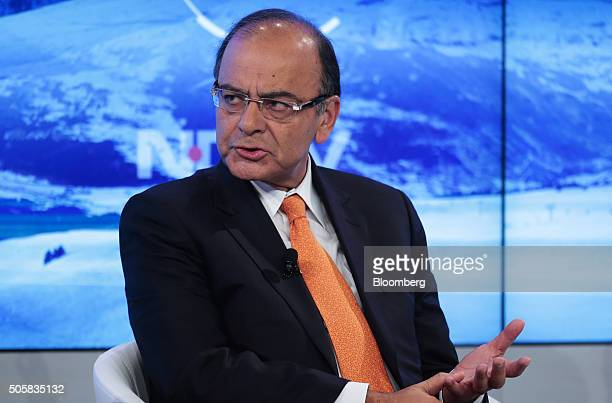 Arun Jaitley India's finance minister speaks during a panel session at the World Economic Forum in Davos Switzerland on Wednesday Jan 20 2016 World...