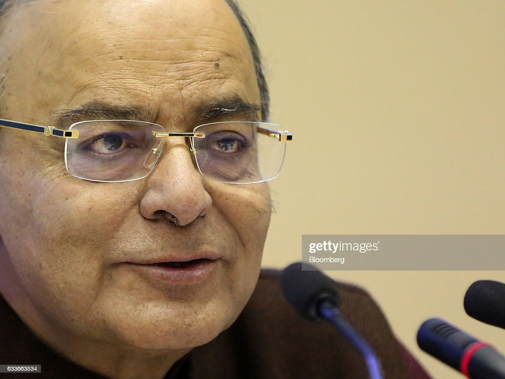 Arun Jaitley, Indias finance minister, speaks during a post-budget session in New Delhi, India, on Friday, Feb. 3, 2017. Prime Minister Narendra Modi's goal to shrink Asia's widest budget deficit to a decade-low rests on ambitious assumptions that will require clinical execution, economists say. Photographer: Anindito Mukherjee/Bloomberg via Getty Images