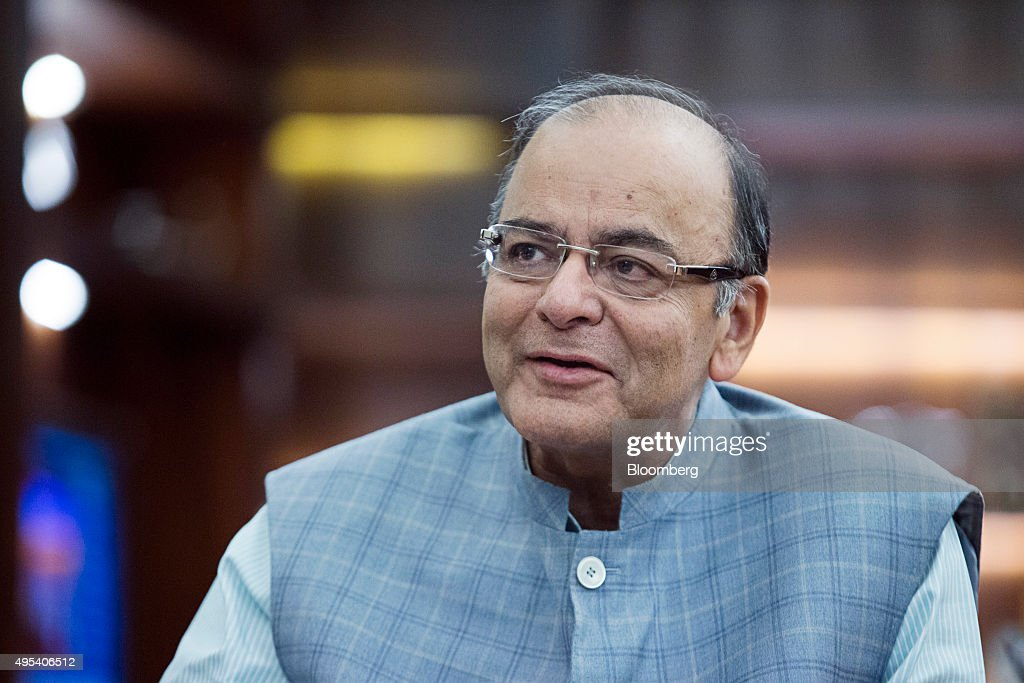 <a gi-track='captionPersonalityLinkClicked' href=/galleries/search?phrase=Arun+Jaitley&family=editorial&specificpeople=2660950 ng-click='$event.stopPropagation()'>Arun Jaitley</a>, India's finance minister, speaks during an interview at his office in the North Block of the Central Secretariat building in New Delhi, India, on Monday, Nov. 2, 2015. Jaitley is open to meeting top opposition leaders, including Rahul Gandhi, to resolve a parliamentary deadlock over sales tax reforms. Photographer: Prashanth Vishwanathan/Bloomberg via Getty Images