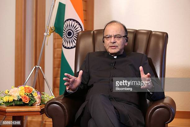 Arun Jaitley India's Finance Minister speaks during an interview in Tokyo Japan on Monday May 30 2016 Despite considerable' uncertainty in the global...