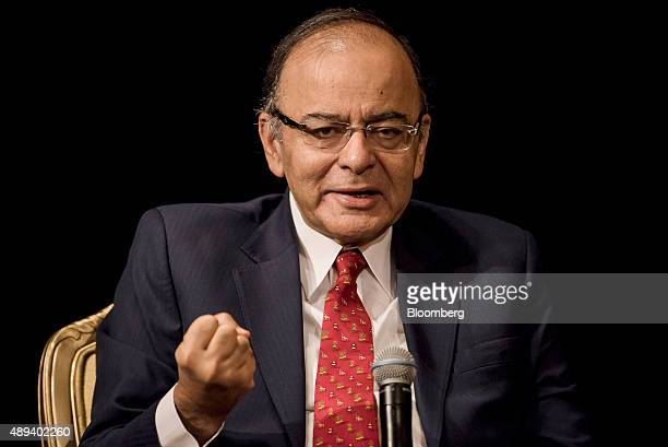 Arun Jaitley India's finance minister speaks during the Asia Pacific Investors Cooperation India summit in Hong Kong China on Monday Sept 21 2015...