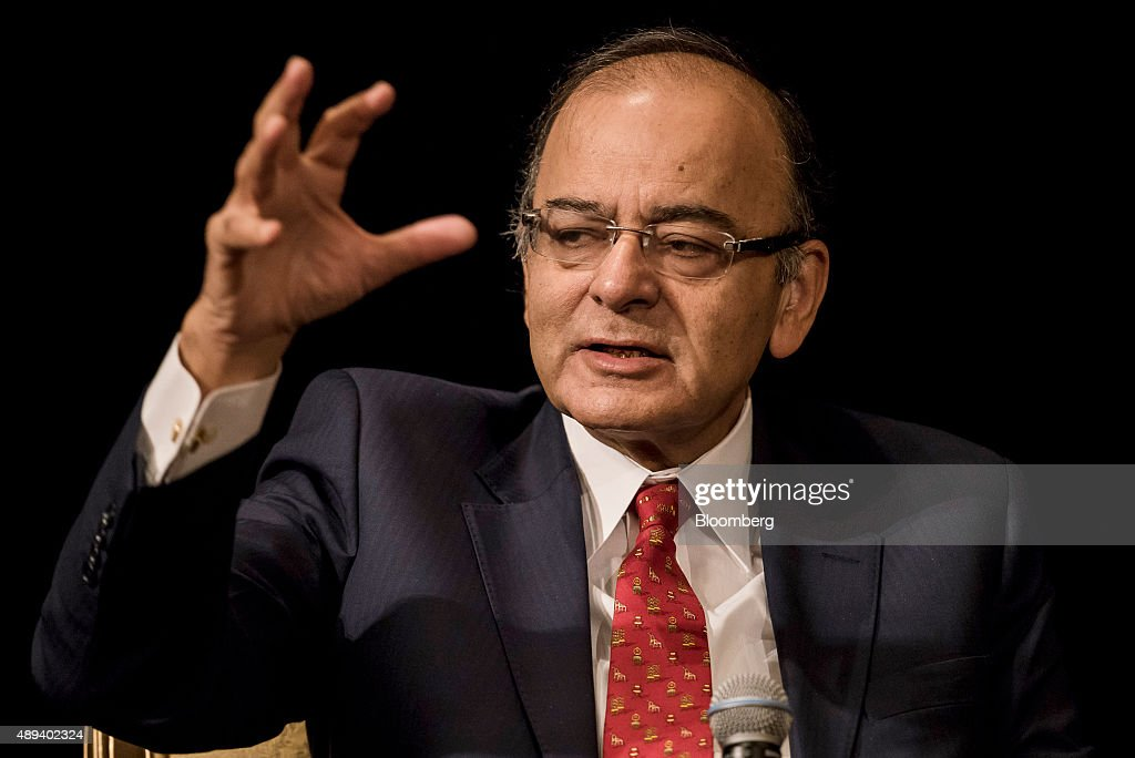 <a gi-track='captionPersonalityLinkClicked' href=/galleries/search?phrase=Arun+Jaitley&family=editorial&specificpeople=2660950 ng-click='$event.stopPropagation()'>Arun Jaitley</a>, India's finance minister, speaks during the Asia Pacific Investors Cooperation India summit in Hong Kong, China, on Monday, Sept. 21, 2015. India needs lower interest rates, and the central bank must decide how much to cut, Jaitley said. Photographer: Xaume Olleros/Bloomberg via Getty Images