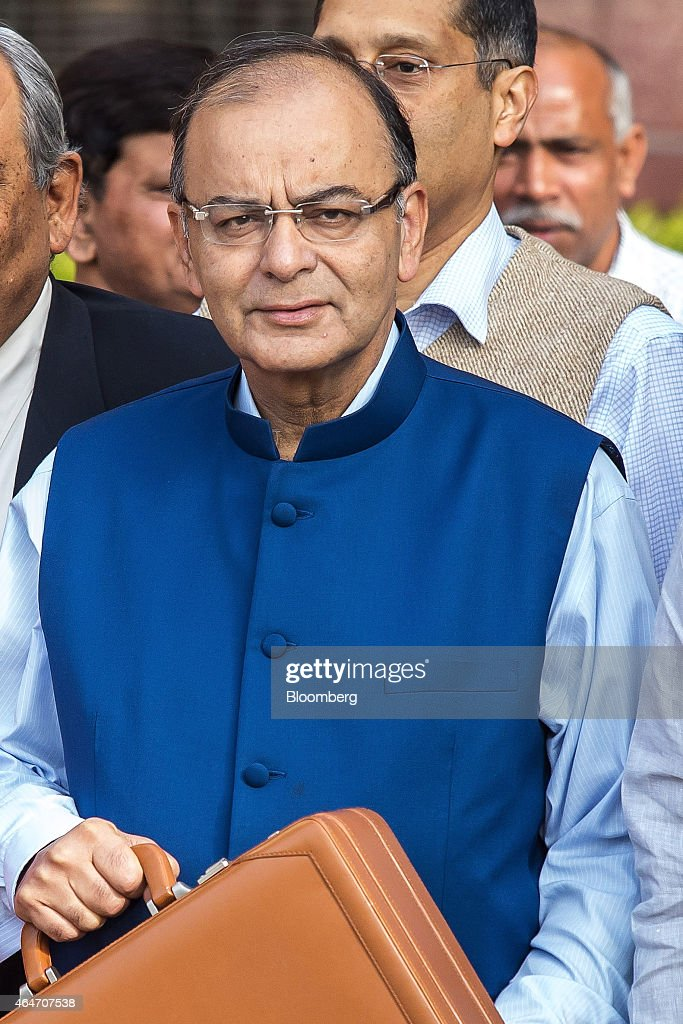 <a gi-track='captionPersonalityLinkClicked' href=/galleries/search?phrase=Arun+Jaitley&family=editorial&specificpeople=2660950 ng-click='$event.stopPropagation()'>Arun Jaitley</a>, India's finance minister, stands for a photograph outside the North Block of the Central Secretariat building before leaving to table the budget in parliament in New Delhi, India, on Saturday, Feb. 28, 2015. Prime Minister Narendra Modi diverged from a previously announced path to narrow India's budget deficit in an effort to spur faster growth in Asias third-biggest economy. Photographer: Graham Crouch/Bloomberg via Getty Images