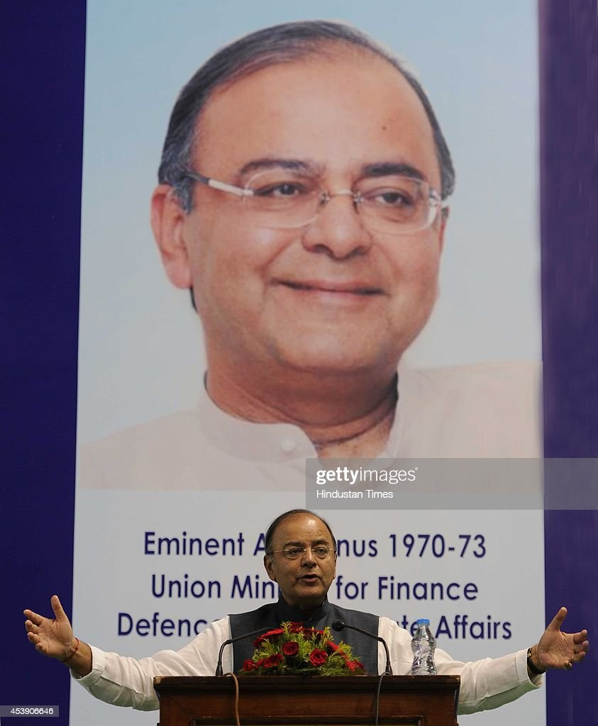 Arun Jaitley, Union Minister for Finance, Defence and Corporate Affairs addressing the gathering at his felicitation ceremony at Shri Ram College of Commerce in North Campus on August 21, 2014 in New Delhi, India. Jaitley said that the govt was working to tighten up risk management in the banking sector.