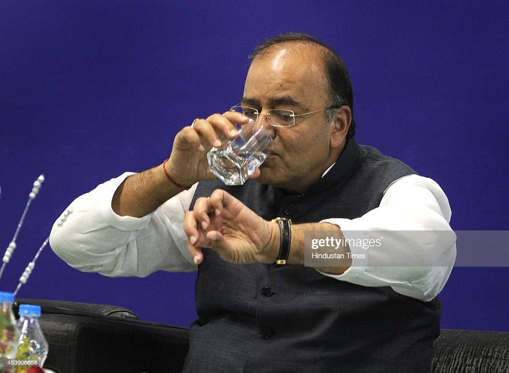 Arun Jaitley, Union Minister for Finance, Defence and Corporate Affairs at his felicitation ceremony at Shri Ram College of Commerce in North Campus on August 21, 2014 in New Delhi, India. Jaitley said that the govt was working to tighten up risk management in the banking sector.