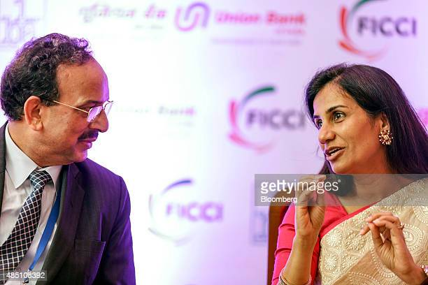 Arun Kaul chairman and chief executive officer of UCO Bank left and Chanda Kochhar managing director and chief executive officer of ICICI Bank Ltd...