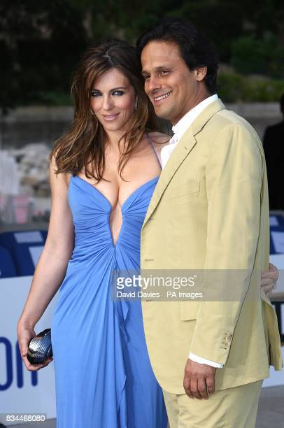Arun Nayar and Elizabeth Hurley arrive for the Grand Prix and Fashion Unite at The Amber Lounge Le Meridien Beach Plaza Hotel Monaco