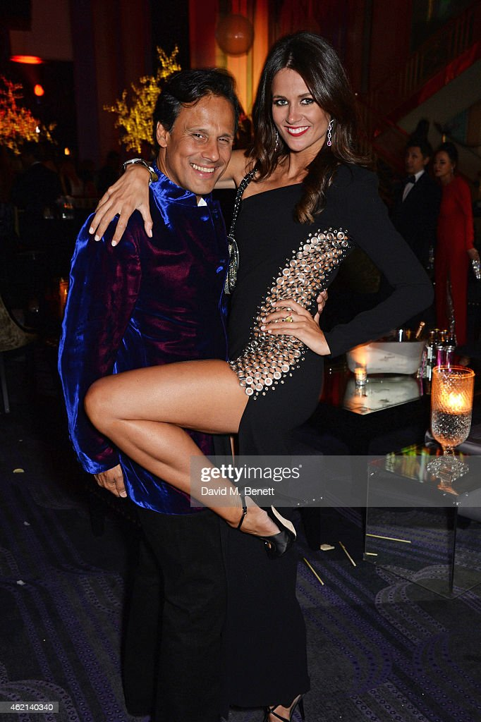 Arun Nayar and Kim Johnson attend Lisa Tchenguiz's 50th birthday party at the Troxy on January 24 2015 in London England