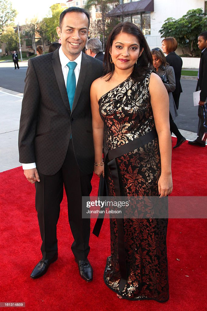 Arun Shenoy (L) and wife Roshni Mohapatra attend the Recording Academy's Special Merit Awards ceremony held at The Wilshire Ebell Theatre on February 9, 2013 in Los Angeles, California.