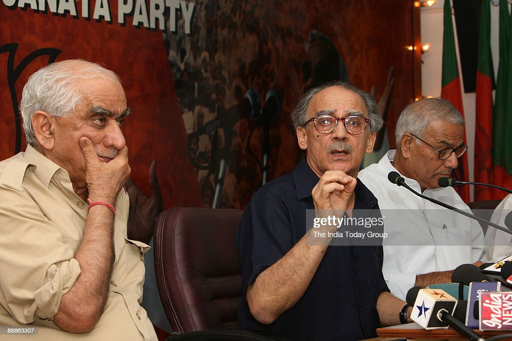 Arun Shourie, Member of Rajya Sabha with Jaswant Singh, former Union Cabinet Minister for external affairs and Yashwant Sinha, former Union Cabinet Minister of finance addressing a BJP Meeting in New Delhi, India