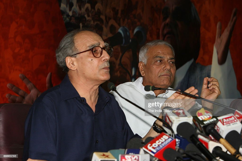 Arun Shourie, Member of Rajya Sabha with Yashwant Sinha, former Union Cabinet Minister of finance addressing a BJP Meeting in New Delhi, India