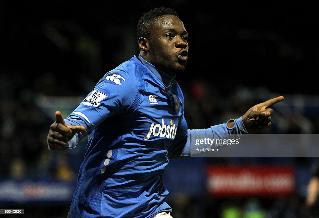 Aruna Dindane of Portsmouth celebrates scoring the equalising goal for Portsmouth during the Barclays Premier League match between Portsmouth and Sunderland at Fratton Park on February 9, 2010 in Portsmouth, England.