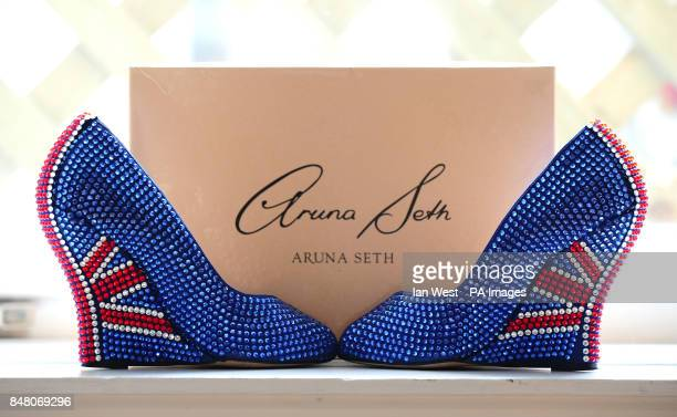 Aruna Seth's limited edition 'British shoes' designed celebrating the Queen's Diamond Jubilee with a price tag of 3000 at Quintessentially in London...