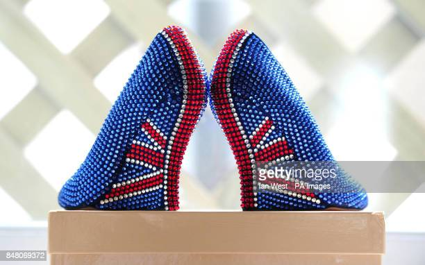 Aruna Seth's limited edition British shoes designed celebrating the Queen's Diamond Jubilee with a price tag of pound3000 at Quintessentially in...