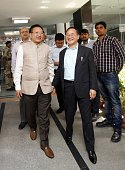 Arunachal Pradesh Chief Minister Nabam Tuki shares a light moment with his Nagaland counterpart TR Zeliang after the first meeting of the subgroup of...