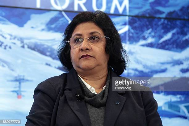 Arundhati Bhattacharya chairman of State Bank of India looks on during a panel session at the World Economic Forum in Davos Switzerland on Thursday...