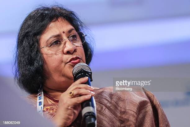 Arundhati Bhattacharya chairman of State Bank of India speaks at the Annual Bankers' Conference in Mumbai India on Friday Nov 15 2013 Palaniappan...